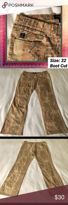Vintage 80s Guess Snake Print Pant PRODUCT DETAILS: * Premium stretch for form fitting look. * Button at center front, zip fly. * Five-pocket styling. * Fit: Easy through the hip and thigh. * Leg opening: Boot Leg  FABRIC & CARE * 98% Cotton, 2% Spandex. * Machine wash Guess Pants Boot Cut & Flare