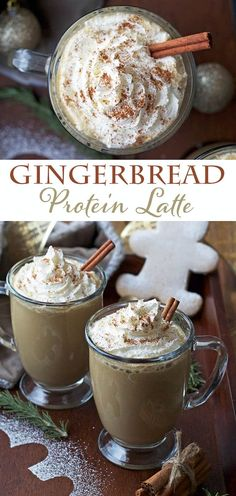 Gingerbread Protein Latte - this warm holiday drink packs 26 grams of protein per serving!