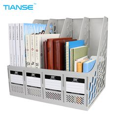 TIANSE document trays file holder 4 cases grey plastic file organizer for desktop storage office stationery suppiles file folder #Affiliate