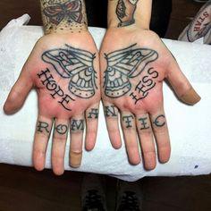 hopeless romantic butterfly hand/finger tattoo