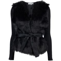 Blessed Are The Meek Dada Jacket ($140) ❤ liked on Polyvore featuring outerwear, jackets, coats, tops, fur, black fur jacket, black jacket, fur jacket, long fur jacket en long jacket