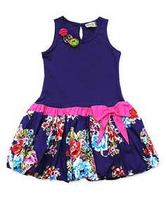 Purple & Red Floral Bubble Dress - Infant, Toddler & Girls