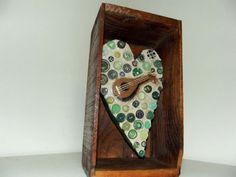 ButtonArtMuseum.com - Folk-Art-Heart-and-Guitar-Green-Button-Mosaic-Assemblage-Found-Object-OOAK