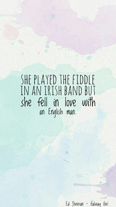 That quote says she played with a   vialon in an irish band and she fell in love with an english someone.