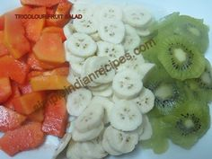 Tricolour Fruit Salad - A healthy and tasty tricoloured fruit salad to celebrate indian independence day. Fruit Salads, Healthy Salads, Independence Day Theme, Indian Salads, Kalam Quotes, Chaat Masala, Snack Box, Kitchen Corner, Coffee Humor
