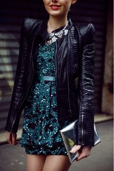 Street style - Sequined dress + python leather jacket (=)