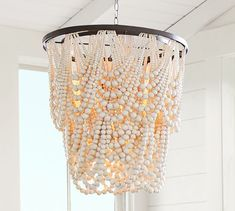 Amelia Wood Bead Indoor/Outdoor Chandelier At Pottery Barn . Wood Bead Chandelier, Round Chandelier, Chandeliers, Chandelier Ideas, Outdoor Chandelier, Outdoor Lighting, Pendant Lighting, Ranch Homes For Sale, Custom Rugs
