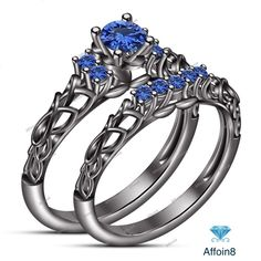 0.90 Ct Round Cut Blue Sapphire Women's Bridal Engagement Ring Set In 925 Silver #affoin8
