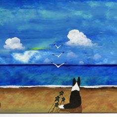 Border Collie Dog Sea Turtle Folk Art PRINT Todd Young  | toddyoungart - Print on ArtFire