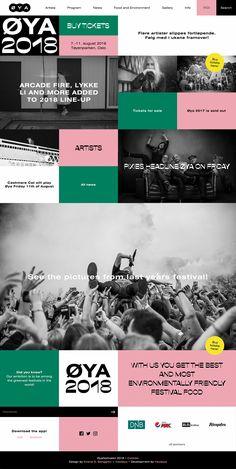 Øyafestivalen site design Web Design, Site Design, Arcade Fire, Buy Tickets, Heart Eyes, Oslo, Landing, App, Website