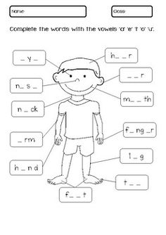 My Body Parts Worksheet - Grundschule English Activities For Kids, English Worksheets For Kindergarten, Learning English For Kids, English Lessons For Kids, Kids English, 1st Grade Worksheets, Preschool Learning Activities, Kindergarten Worksheets, Teaching Kids