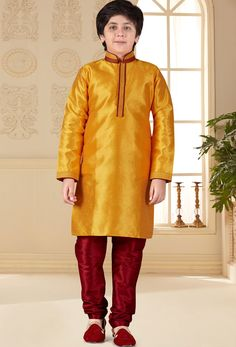 Shop orange nano silk traditional boys kurta and pajama , freeshipping all over the world , Item code Kids Kurta, Chinese Collar, Yellow Art, Thread Work, Design Show, Pajama Set, Kids Boys, Silk, Patterns