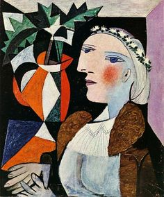 """Are we to paint what's on the face, what's inside the face, or what's behind it?"" - Pablo Picasso (Head of a Woman with a Garland, 1937) Saatchi Gallerys billede."