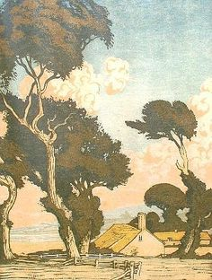 Sylvan G Boxsius (1878-1941 British) Landscape with cottages; linocut printed in colours on Japan paper