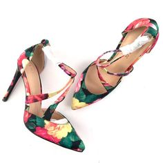 """Liliana Floral Heels 4.5"""" brand new/never worn floral t-strap Liliana pumps  • Please note: All images are taken by me and are the exact same item you would receive if you decided to purchase.    •  No Trades Liliana Shoes Heels"""
