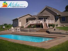 """Aloha 2a: The Modern models are aesthetically pleasing designs with clean, sleek lines.  The Aloha is a modern shaped fiberglass pool that is 15'x34' and goes to 3'6"""" in depth.  For more information about Aloha Fiberglass Pools or to find a local pool builder in your area that can assist you, visit  www.AlohaFiberglassPools.com or call (800) 786-2318."""