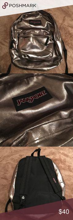 Jansport Metallic Backpack Slightly worn, in super good condition. Two compartments. Black adjustable straps. Jansport Bags Backpacks