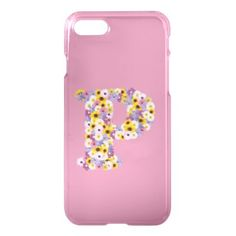 Monogram letter P iPhone 8/7 Case - floral style flower flowers stylish diy personalize
