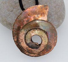 Spiral Copper Nautilus Pendant. by marshadrewjewellery on Etsy, £70.00