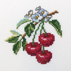 """Cherries Counted Cross Stitch Kit-4""""X4"""" 14 Count"""