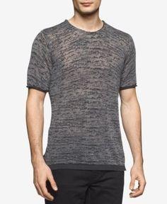 Calvin Klein Men's Slim-Fit Burnout Shirt - Black XXL