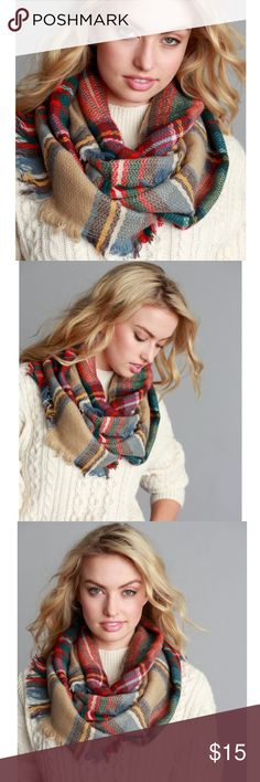 Multi Color Plaid Infinity Scarf 😍✨ Comment closet name to be notified when in stock. Brand new. MULTI COLOR PLAID FRAYED INFINITY SCARF  100% ACRYLIC Accessories Scarves & Wraps