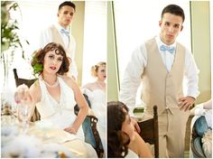 Gatsby Party Styled Shoot Tan and ivory groomsman attire. blue bowtie. handsome pose for groomsman.
