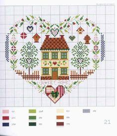 Cross Stitch House, Cross Stitch Heart, Cross Stitch Samplers, Counted Cross Stitch Patterns, Cross Stitch Designs, Cross Stitching, Cross Stitch Embroidery, Embroidery Patterns, Christmas Cross