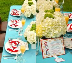 Tablescape from Dr. Seuss themed baby shower as featured on celebrationsathomeblog.com