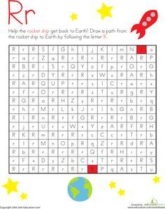 Kindergarten Mazes The Alphabet Worksheets: Letter Maze: R