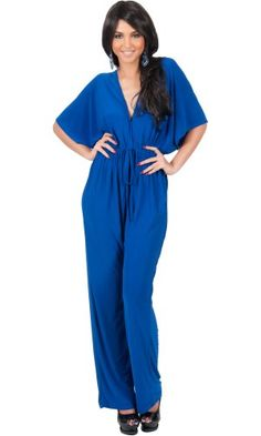 Special Offer: $29.95 amazon.com A highly versatile kimono sleeve jumpsuit that features a v-neck front and back with generous kimono sleeves as well as an elastic waist band that ensures that the design is a great fit for all body shapes. This beautiful jumpsuit can be worn as a casual...