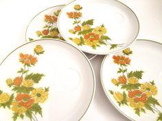 Vintage Plate Set Mod Mid Century Flowers Cera by PoolhausVintage