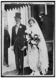 Oswald Mosley and Lady Cynthia Curzon on their wedding day, 11 May 1920