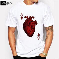 new arrival 2017 men's fashion designer heart poker A t-shirt men funny white tees Hipster O-neck short sleeve cool tops