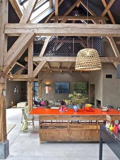 Dining Room At A Farmhouse Design- table top in colour