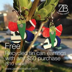 No coupons! No codes! No joke! We are celebrating #EarthMonth by giving you a FREE pair of Fair Trade Recycled Tin Can Butterfly earrings and FREE shipping with any $50 or more purchase. Click the image for details and to shop.