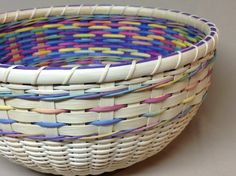 Hand Woven Round Bowl - Type Basket, Easter Basket, Double Wall, Paster Colors by DiannesBaskets