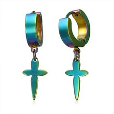Huggie Style Tie Dye Finish Christian Cross Dangling Charm Hoop Earrings *** To view further, visit now : trend jewelry 2016