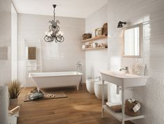 Bathroom Tile by Fap Ceramiche- 60 Italian Design Ideas The perfect bathroom should be comfortable, pretty and make you feel comfortable. If you need ideas on bathroom design, you're in the right place. White Bathroom Decor, Modern Bathroom Design, Bathroom Wall, Bathroom Interior, Wood Tile Floors, Wall And Floor Tiles, Wall Tiles, Wood Floor, Bad Wand