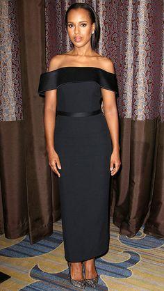 Kerry Washington in a black off-the-shoulder Boss dress