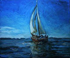 Żaglówka 2, obraz olejny na płótnie Anna Michałowska