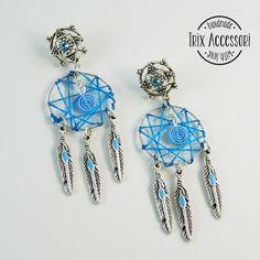 Pendant earrings Dreamcatcher silver feathers indian