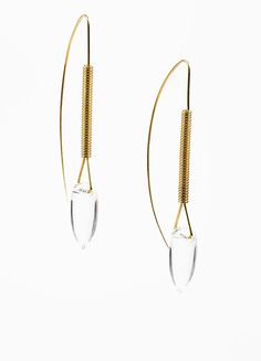 "Tina Chow 18K Yellow Gold and Clear Rock Crystal ""Amfora"" Drop Earrings"