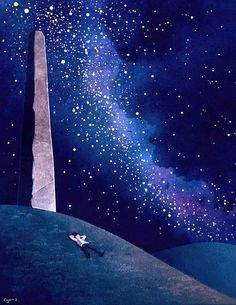 """""""Look at the stars, look how they shine for you..."""" Illustration by Ryan Andrews"""