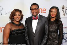 Family affair: TV judgeGreg Mathis brought his wifeLinda Reese and daughter Carmen to th...