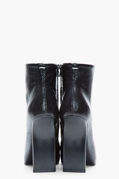 MAISON MARTIN MARGIELA Black Patent Lizard Thin-Heeled Ankle Boots