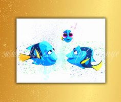 Finding Dory print Littel Dory with mom and dad Disney by TRONYC