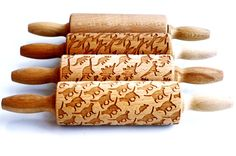 SET OF 4 kids rolling pins  embossing pins for by ValekRollingPins