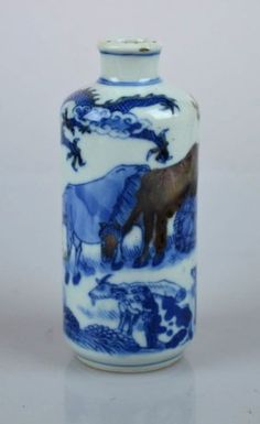 Large 19th C Chinese Blue & Red Porcelain Snuff