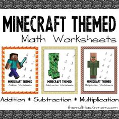 Minecraft Themed Math Worksheets - Life of a Homeschool Mom Math Worksheets, Math Resources, Math Activities, Minecraft Activities, Math For Kids, Fun Math, Minecraft School, Minecraft Party, Minecraft Classroom